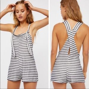 Free People Navy & White Striped Romper NWT LRG